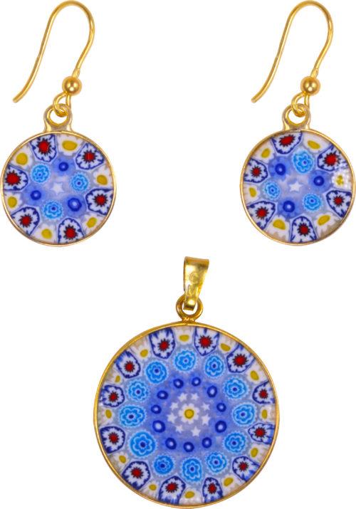 """Genuine Murano Glass """"Millefiori Jewelry Set"""" by Corte Murrina"""